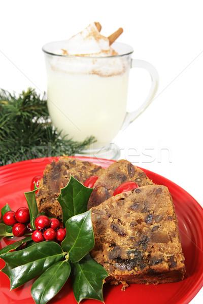 Slices of Christmas Fruitcake Stock photo © lisafx