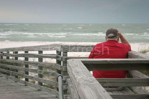 Tempesta annoiato vecchio guardare rotolare Ocean Foto d'archivio © lisafx