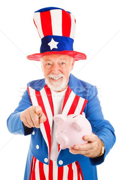 Nagybácsi pénz valósághű tart persely kérdez Stock fotó © lisafx