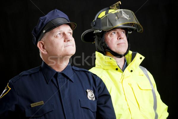 ブルーカラー 英雄たち 見える 消防 男 ストックフォト © lisafx