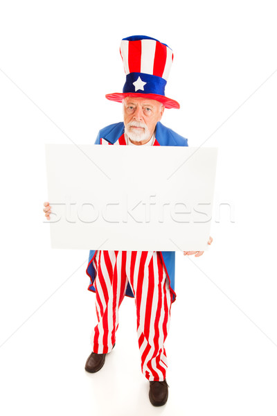 Grumpy Uncle Sam wiith Sign Stock photo © lisafx