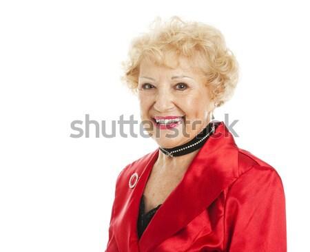 Idős hölgy ünnepek portré gyönyörű nő Stock fotó © lisafx