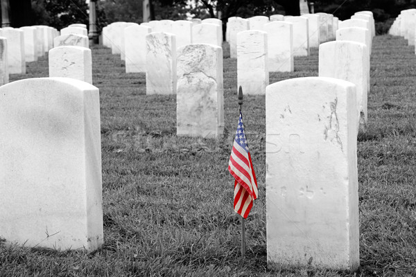Askerler mezar seçici amerikan bayrağı askeri mezarlık Stok fotoğraf © lisafx