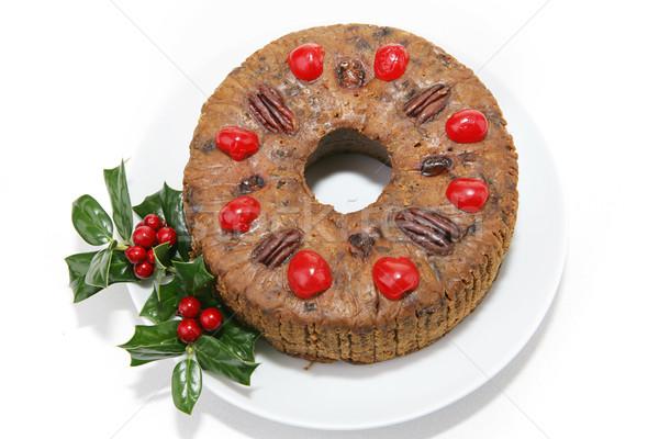 Karácsony gyümölcstorta fehér gyönyörű tányér izolált Stock fotó © lisafx