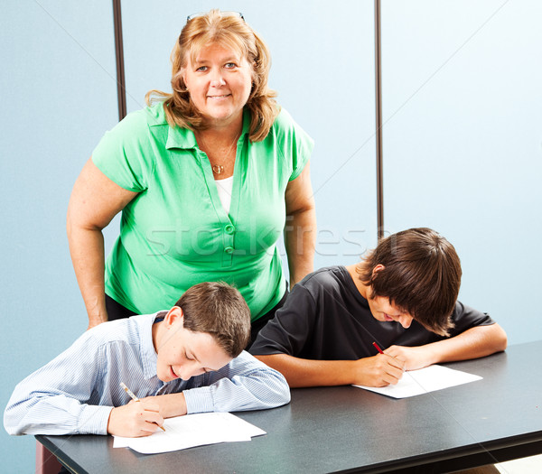 Happy Teacher with Students Stock photo © lisafx