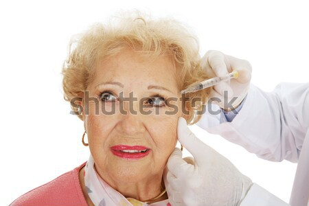 Kozmetikai injekció száj idős nő ráncok Stock fotó © lisafx