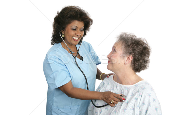 Barátságos orvosi ellátás orvos nővér életbevágó feliratok Stock fotó © lisafx