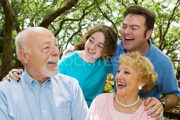 Grandpa blague famille parc rire femme Photo stock © lisafx