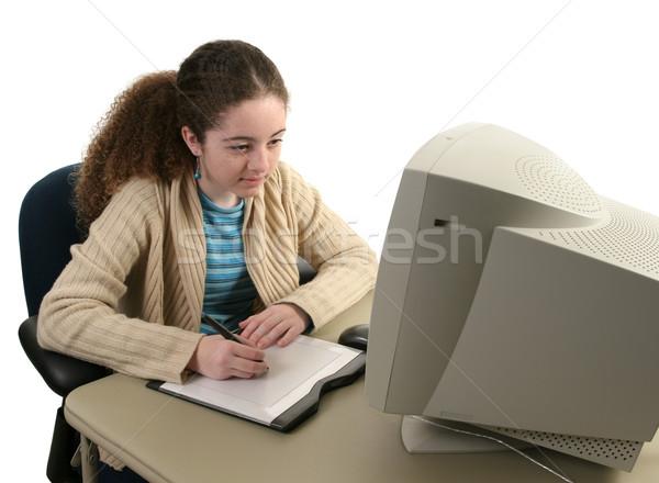 Grafik tablet konsantrasyon genç kız bilgisayar grafikleri kadın Stok fotoğraf © lisafx