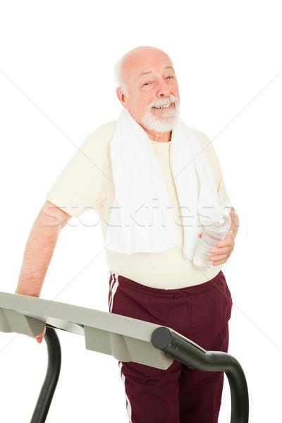 Zdrowych starszy człowiek przystojny kierat woda butelkowana Zdjęcia stock © lisafx