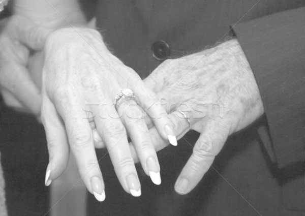 Mature Wedding Hands BW Stock photo © lisafx