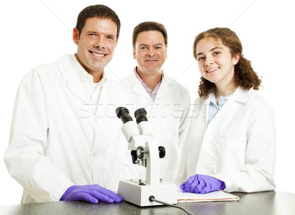 Stock foto: Wissenschaft · Gruppe · glücklich · lächelnd · Wissenschaftler · Labor