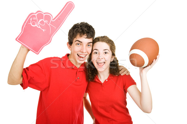 Teen couple football fans cute Photo stock © lisafx