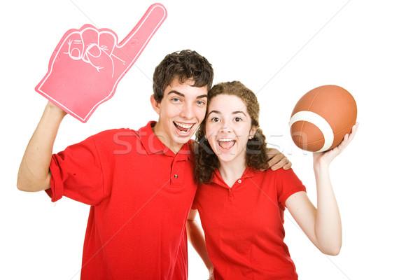 Adolescente casal futebol fãs bonitinho Foto stock © lisafx
