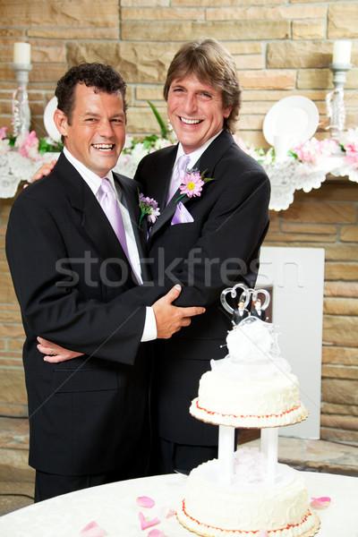 Matrimonio gay ricevimento di nozze due bello felice Foto d'archivio © lisafx
