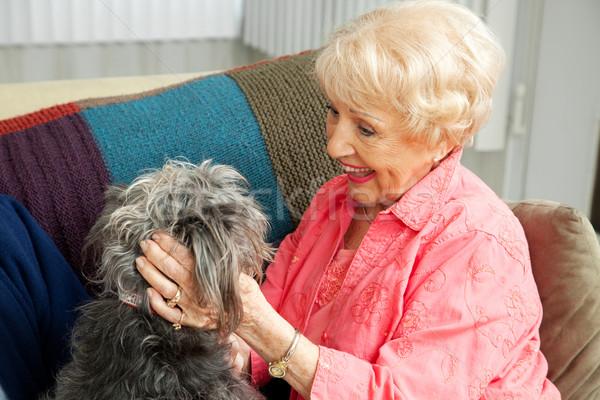 Senior Lady Loves Her Dog Stock photo © lisafx