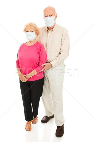 Járvány idős pár egészalakos aggódó visel arc Stock fotó © lisafx