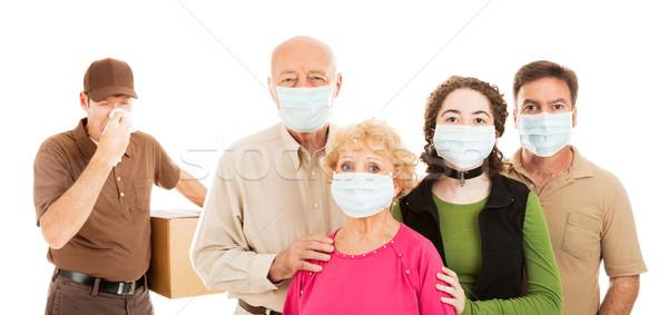 Család influenza visel sebészi maszkok védelmez Stock fotó © lisafx