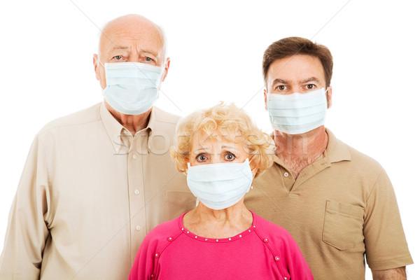 Tıbbi salgın yaşlı ebeveyn yetişkin oğul Stok fotoğraf © lisafx