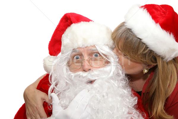 Santas Surprise Kiss Stock photo © lisafx