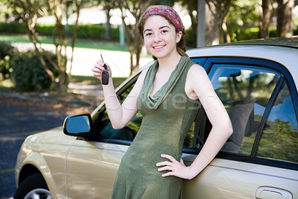 Stock photo: Teen Girl with New Car