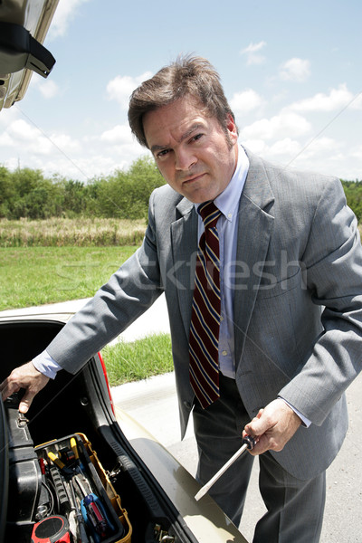 şanssız işadamı araçları tamir kırık aşağı Stok fotoğraf © lisafx