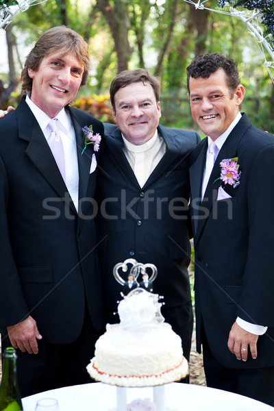 Gay Wedding Couple with Minister Stock photo © lisafx