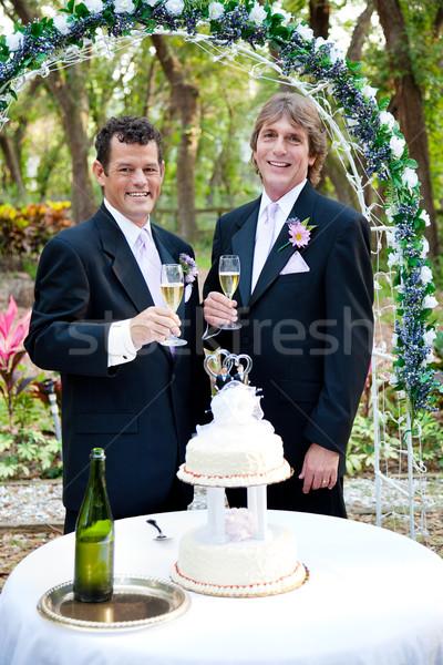Homossexual masculino casal recepção de casamento bonito Foto stock © lisafx
