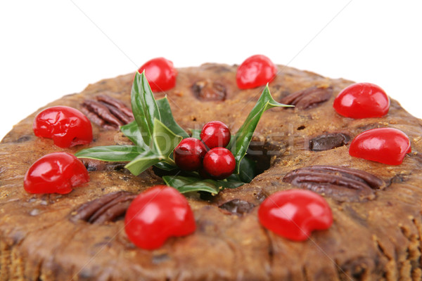 Christmas Fruitcake Closeup Stock photo © lisafx