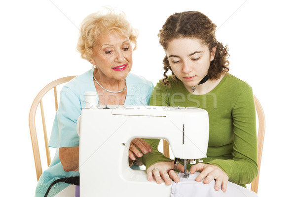 Family Sewing Lesson Stock photo © lisafx