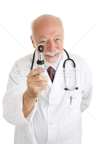 Barátságos orvos orvosi vizsgálat érett megvizsgál izolált Stock fotó © lisafx