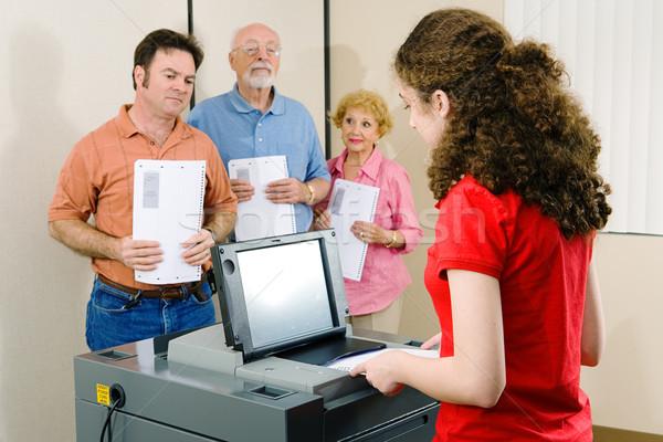Felfelé szavazás fiatal nő szavazás optikai scan Stock fotó © lisafx