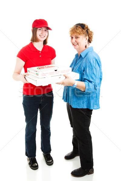 Pizza házhozszállítás egészalakos tini lány vásárló Stock fotó © lisafx