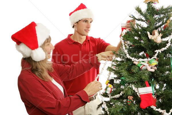Decorating Christmas Tree Together Stock photo © lisafx