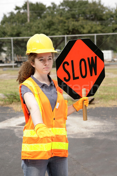 Stock photo: Road Crew Slow Sign