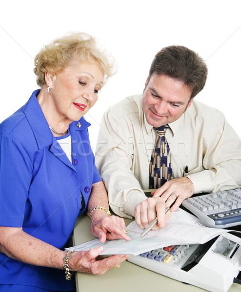бухгалтер клиент финансовые консультации старший женщину белый Сток-фото © lisafx