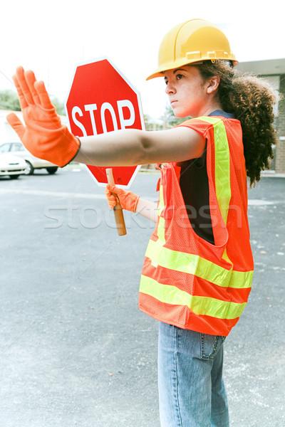 Homme travailleur trafic jeunes construction apprenti Photo stock © lisafx