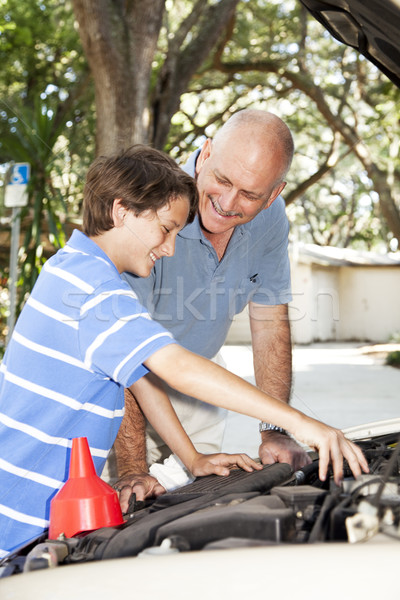 Father Teaches Son to Fix Car Stock photo © lisafx