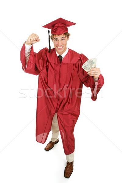 Lelkes diplomás pénz pénz jövő egészalakos Stock fotó © lisafx