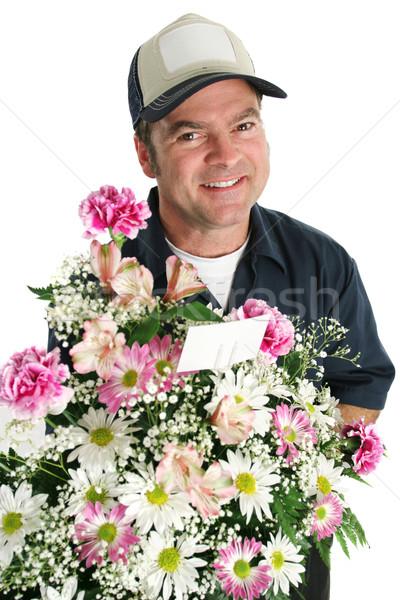 Dostça çiçek çiçekler özel gün gülümseme Stok fotoğraf © lisafx