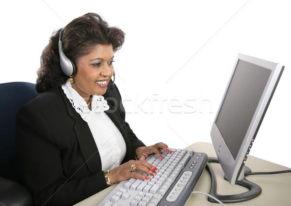 Indian vrouw technische ondersteuning aantrekkelijk specialist vergadering Stockfoto © lisafx