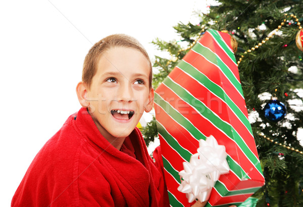 Mały chłopca christmas dar cute odgadnąć Zdjęcia stock © lisafx