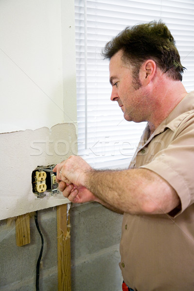 Electrician with Receptacle Stock photo © lisafx