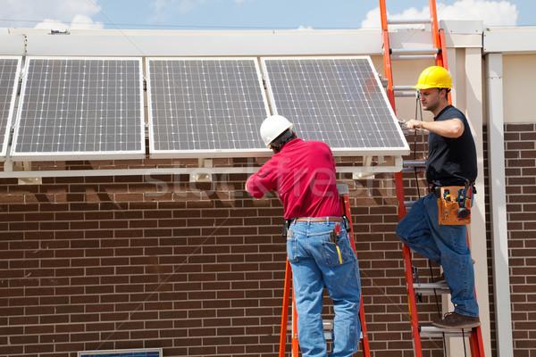 Zonnepanelen twee gebouw school bouw Stockfoto © lisafx