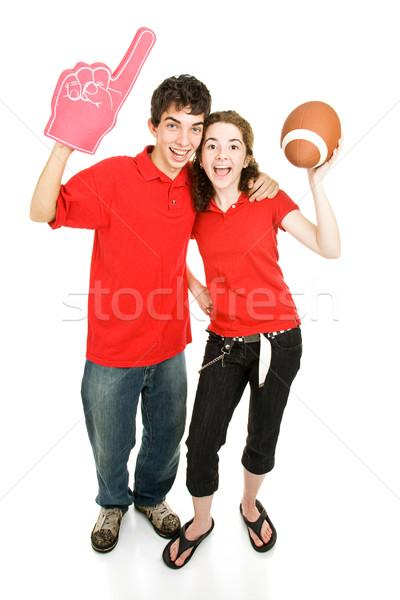 Genç spor fanlar çift kökleri futbol Stok fotoğraf © lisafx