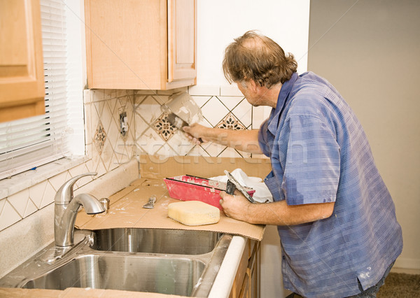 Tile Work - Applying Grout Stock photo © lisafx