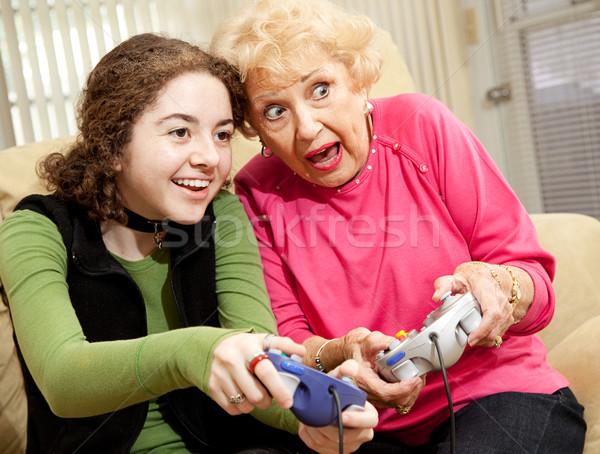 Photo stock: Jeu · vidéo · excitation · grand-mère · petite · fille · jouer · passionnant