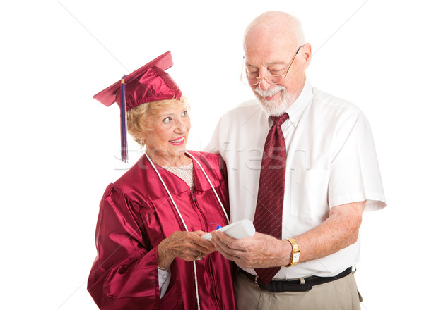 Büszke idős diplomás támogató házastárs nő Stock fotó © lisafx