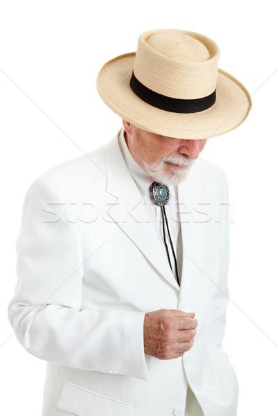 старший человека белый костюм Панама Hat Сток-фото © lisafx