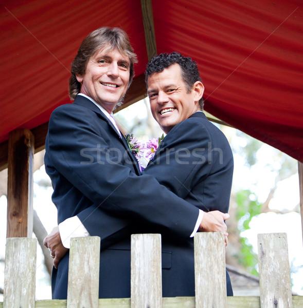 Foto stock: Bonito · recém-casado · parque · retrato · recentemente · casado